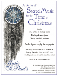 Service of Sacred Music for the Time of Christmas at St. Paul's Des Peres