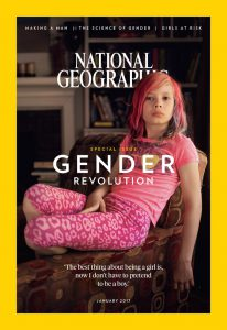 "ROBIN HAMMOND/NATIONAL GEOGRAPHIC Avery Jackson, 9, covers the subscriber's edition of National Geographic's ""Gender Revolution"" issue in January."