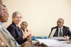 Deaconess Sandra Rhein introduces herself at a hymnal committee meeting at the Mekane Yesus Seminary in Addis Ababa, Ethiopia, on Tuesday, Nov. 11, 2014. LCMS Communications/Erik M. Lunsford