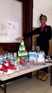 Sanai Davis and supplies for her Perryville Supply Drive, supporting victims of the March 2017 Perryville Tornado.