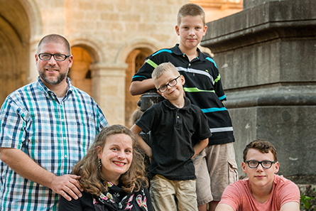 Portrait photograph of the Rev. Joel and Clarion Fritsche, along with their children Andrei, Sergei and Slav in Santo Domingo, Dominican Republic, on Sunday, March 19, 2017. LCMS Communications/Erik M. Lunsford