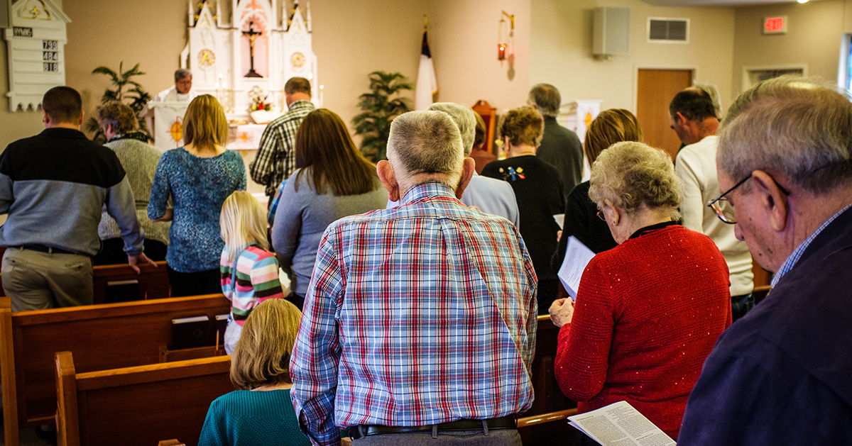 Parishioners and guests attend worship at St. Paul Lutheran Church-Dewberry on Sunday, April 10, 2016, in Cross Plains, Ind. LCMS Communications/Erik M. Lunsford