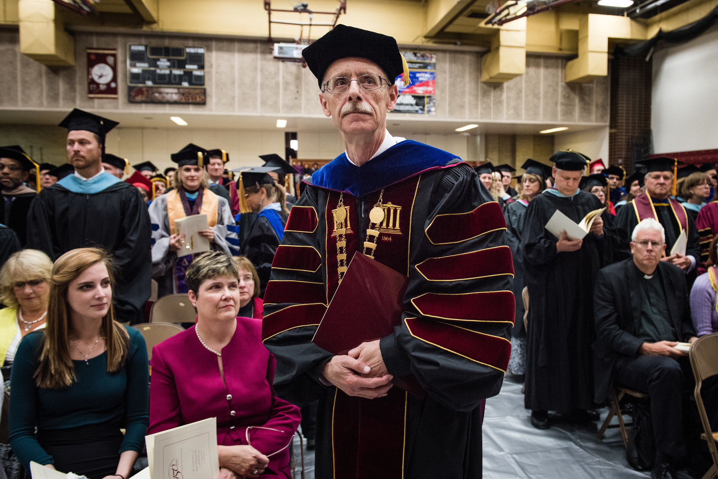 The Rev. Dr. Daniel Lee Gard, president of Concordia University Chicago, walks in a procession at the beginning of his inauguration at the college in River Forest, Ill., on Friday, Oct. 10, 2014. LCMS Communications/Erik M. Lunsford