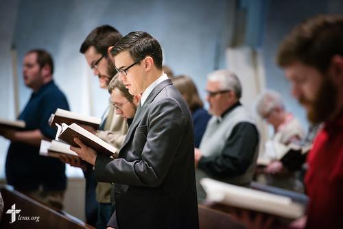Seminarian Jacob Benson sings during worship at Kramer Chapel at Concordia Theological Seminary, Fort Wayne, Ind., on Wednesday, April 1, 2015. LCMS Communications/Erik M. Lunsford