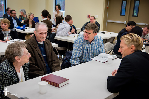 The Rev. Tim Droegemueller (right), senior pastor, chats with (L-R) Marie Inman, her husband George, and Kevin Grill, during fellowship at Bible study on Sunday, Nov. 23, 2014, at Living Faith Lutheran Church in Cumming, Ga. LCMS Communications/Erik M. Lunsford