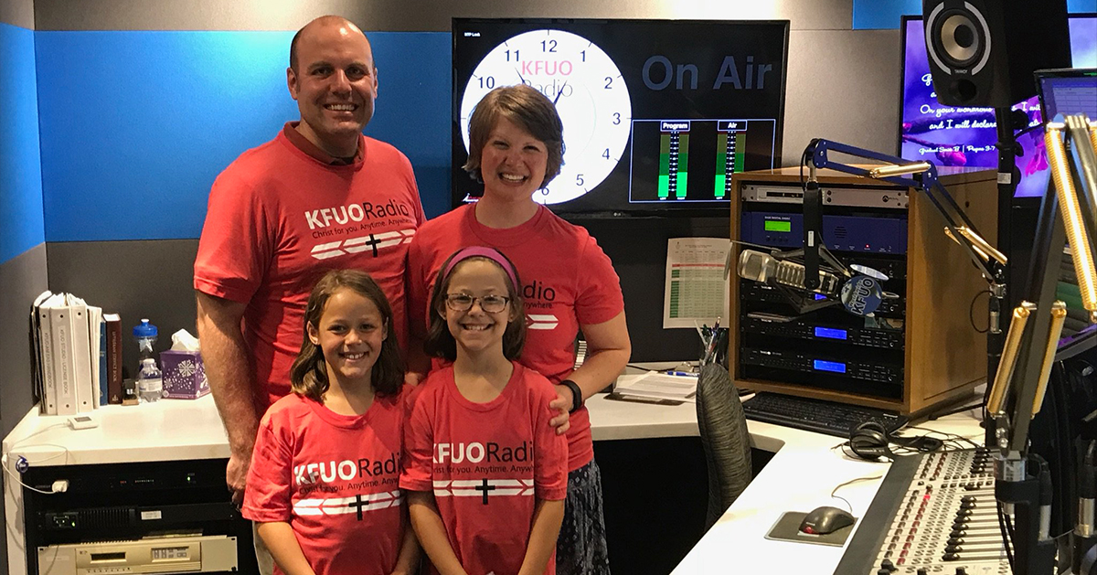 Picture: Rev. Michael and Katie Schuermann visit the KFUO Studios with their goddaughters Olivia and Lydia Brown. Used with permission.