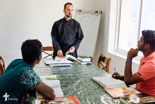 The Rev. Dr. Edward Naumann, LCMS career missionary and theological educator to South Asia, teaches pre-seminary students Danshan (right) and Jeyson at Immanuel Lutheran Church on Monday, Jan. 22, 2018, in Colombo, Sri Lanka. LCMS Communications/ Erik M. Lunsford