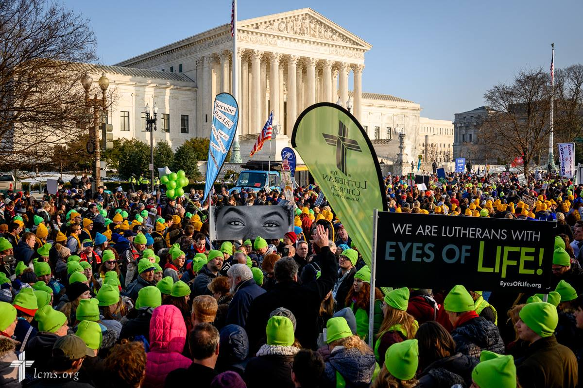 Lutherans gather in front of the U.S. Supreme Court following the March for Life 2019 on Friday, Jan. 18, 2019, in Washington, D.C. LCMS Communications/Erik M. Lunsford