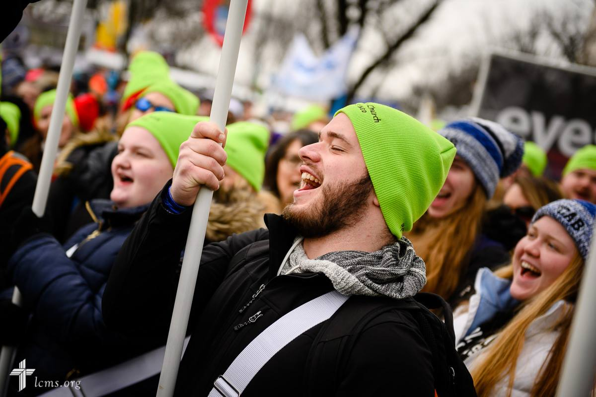Charlie McLain, student at Concordia University Chicago, holds a sign while marching during the March for Life 2019 on Friday, Jan. 18, 2019, in Washington, D.C. LCMS Communications/Erik M. Lunsford
