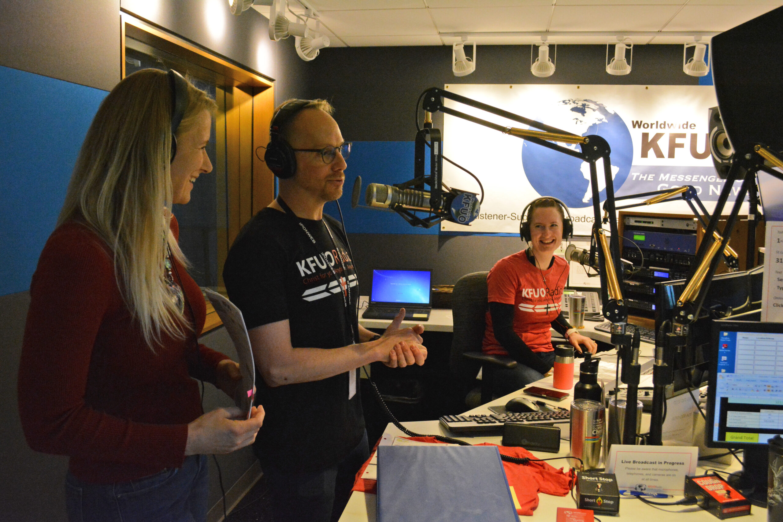 Mary Schmidt, Andy Bates, and Sarah Gulseth engage listeners during Sharathon 2018.
