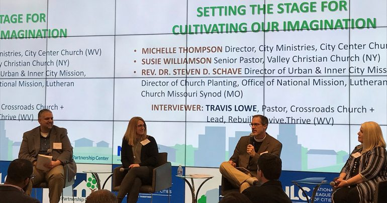 "The Rev. Dr. Steven D. Schave (third from left), director of LCMS Urban and Inner-City Mission, participates in the opening panel of ""Partners in Hope"" in Washington, D.C., on March 27. (U.S. Department of Health and Human Services)"