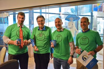 It's the Marks at Sharathon 2019! L-R: Rev. Mark Femmel, Rev. Mark Hawkinson, Rev. Mark Kiessling, and Mark Cannon showing off their KFUO t-shirts.