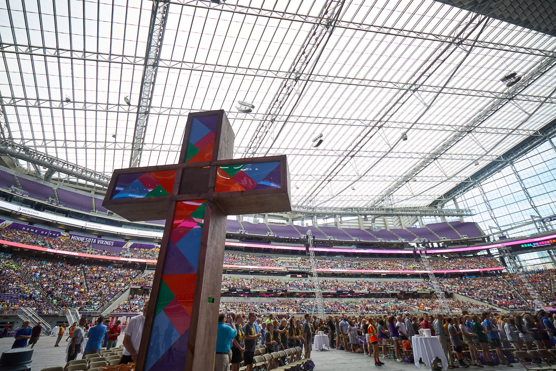 Lutheran youth and adults gather at US Bank Stadium in Minneapolis, Minnesota, for the final Divine Service at the 2019 LCMS National Youth Gathering. LCMS Youth Ministry