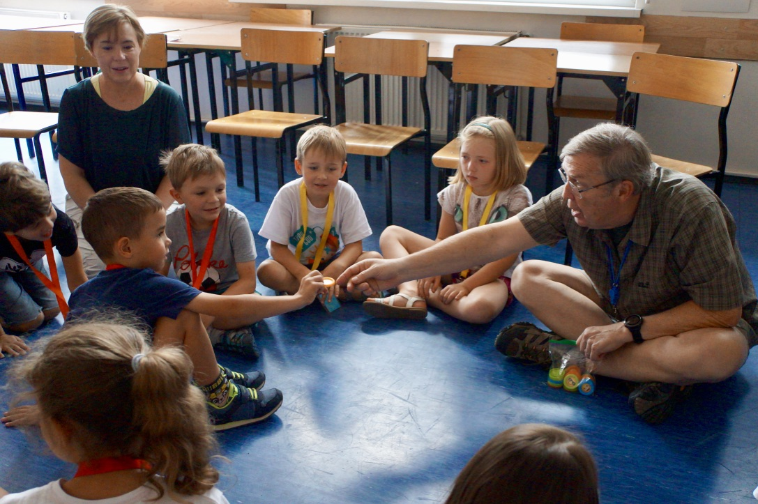 Michael Olin teaches about God's gifts during English Bible Camp, Kluczbork, Poland, July 2019.