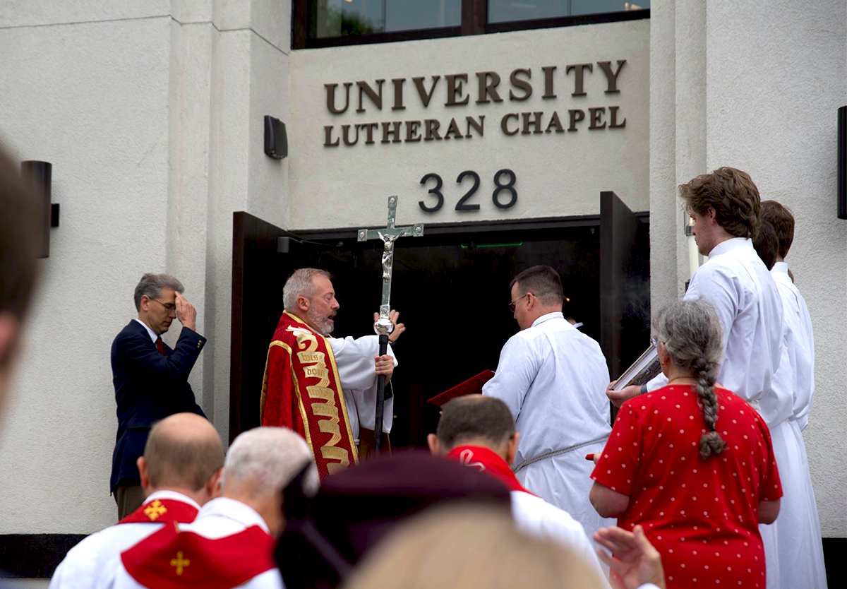 Rev. David Kind joins clergy and congregation at the dedication of the new University Lutheran Chapel in Minneapolis, Minnesota.