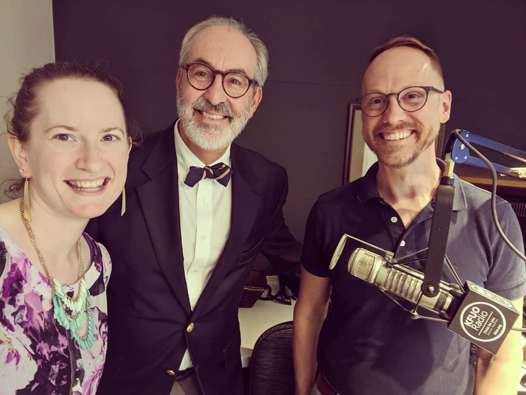 Sarah Gulseth, Dr. Arthur Just, and Andy Bates in Studio E.