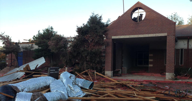 An Oct. 21 photo of Dallas Lutheran School displays damage from a tornado that struck the school on Oct. 20. (Dallas Lutheran School/Chris Wondoloski)