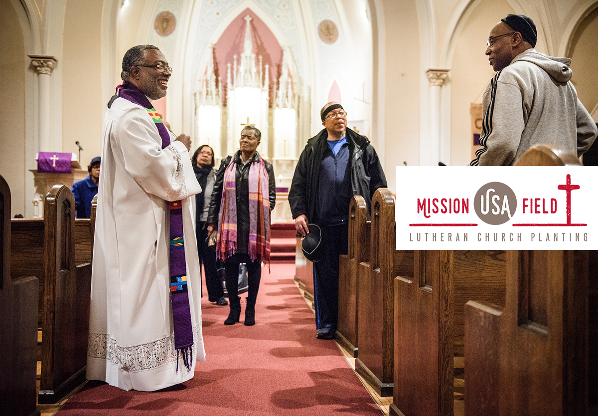 The Rev. Delwyn Campbell, national missionary to Gary, Ind., chats with parishioners following a Lenten service at St. John's Lutheran Church on Wednesday, April 5, 2017, in Gary. LCMS Communications/Erik M. Lunsford