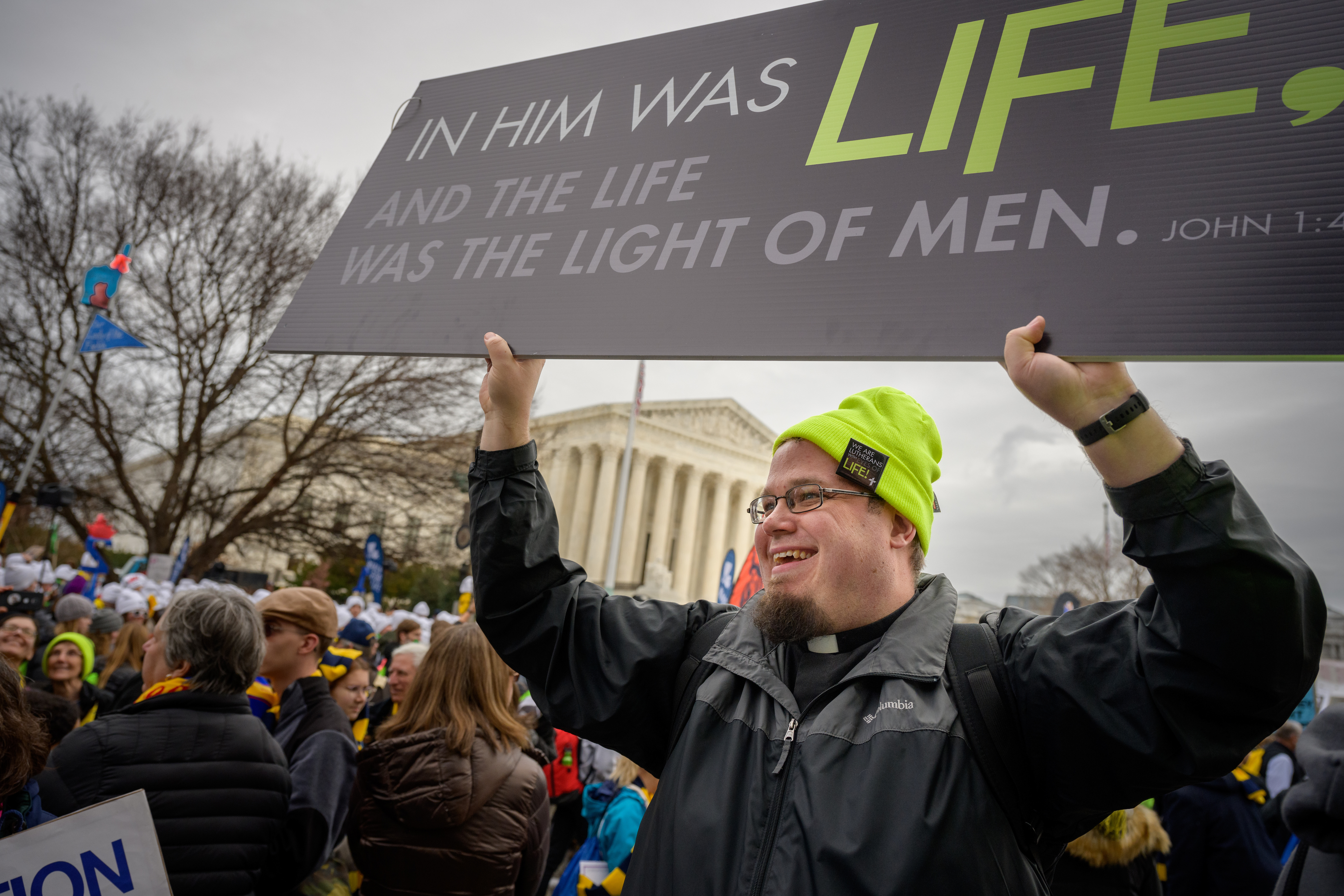 The Rev. John Zimmerman, pastor at Immanuel Lutheran Church, Scranton, Pa., and Saint John Lutheran Church, Pittston, Pa., rallies participants at the March for Life 2020 on Friday, Jan. 24, 2020, in Washington, D.C. LCMS Communications/Erik M. Lunsford