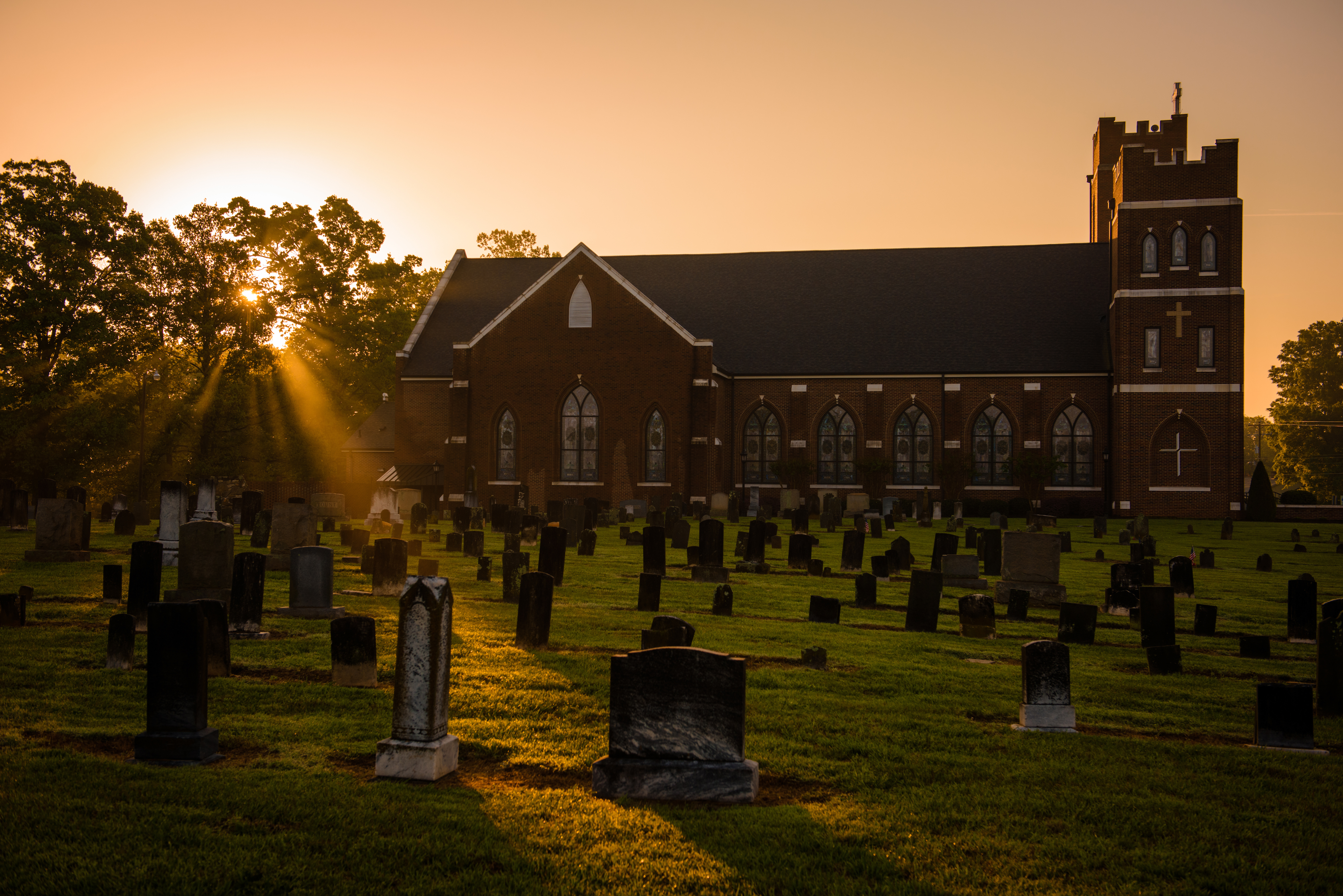 Sunrise over the cemetery at St. John's Lutheran Church, Conover, N.C, on Saturday, April 22, 2017, in Hickory, N.C. LCMS Communications/Erik M. Lunsford Sunrise over the cemetery at St. John's Lutheran Church, Conover, N.C, on Saturday, April 22, 2017. LCMS Communications/Erik M. Lunsford